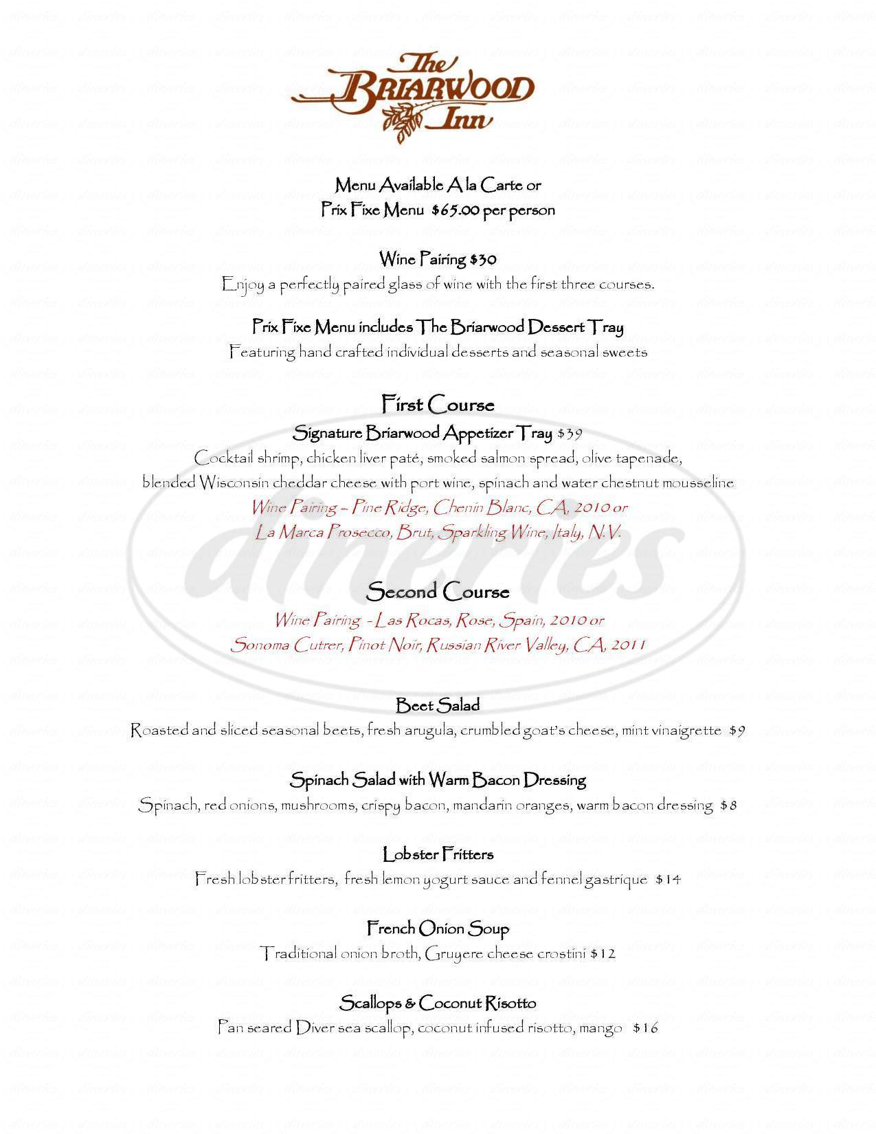 menu for The Briarwood Inn