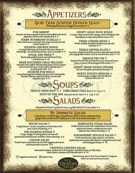 menu for Dickens Tavern