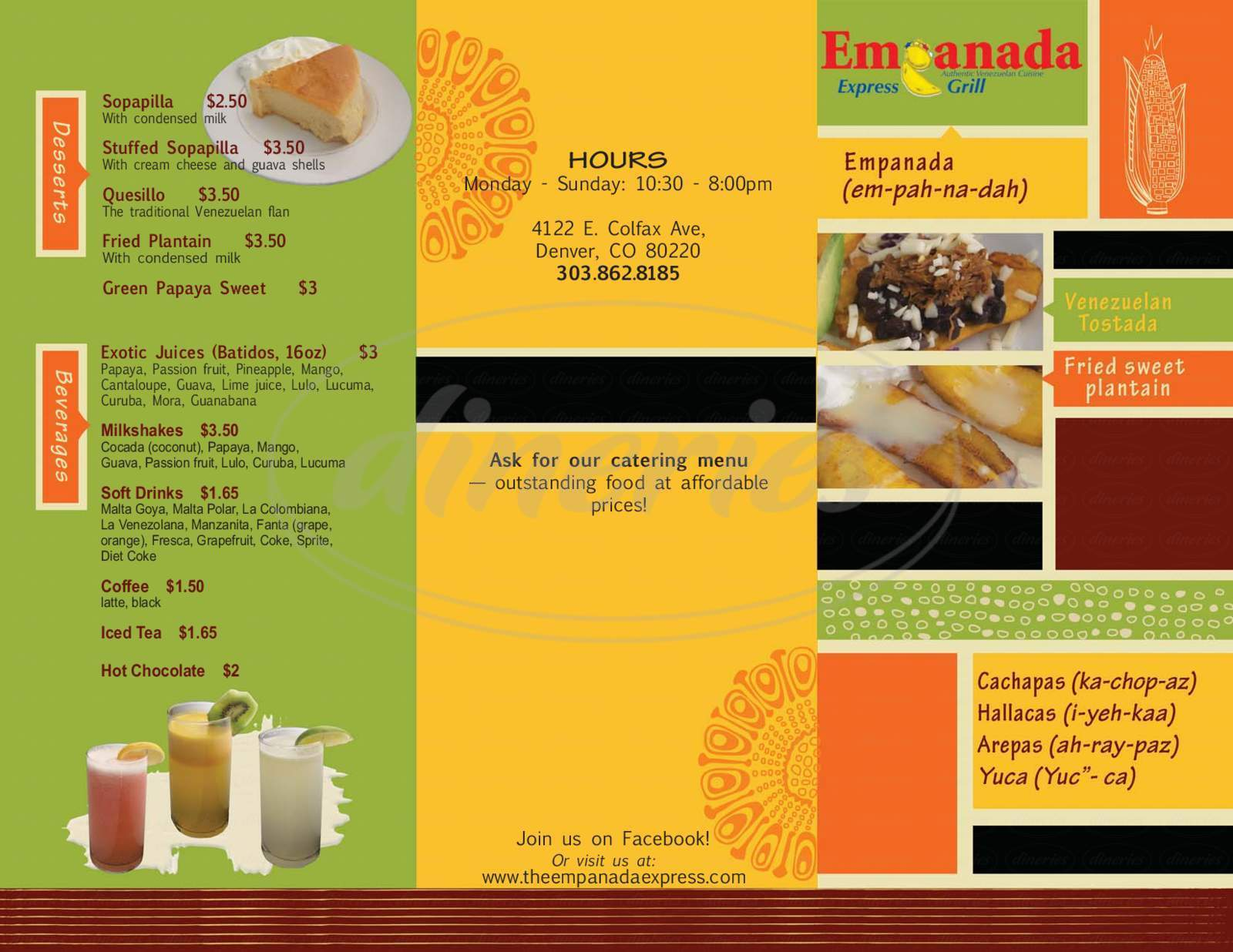 menu for Empanada Express Grill