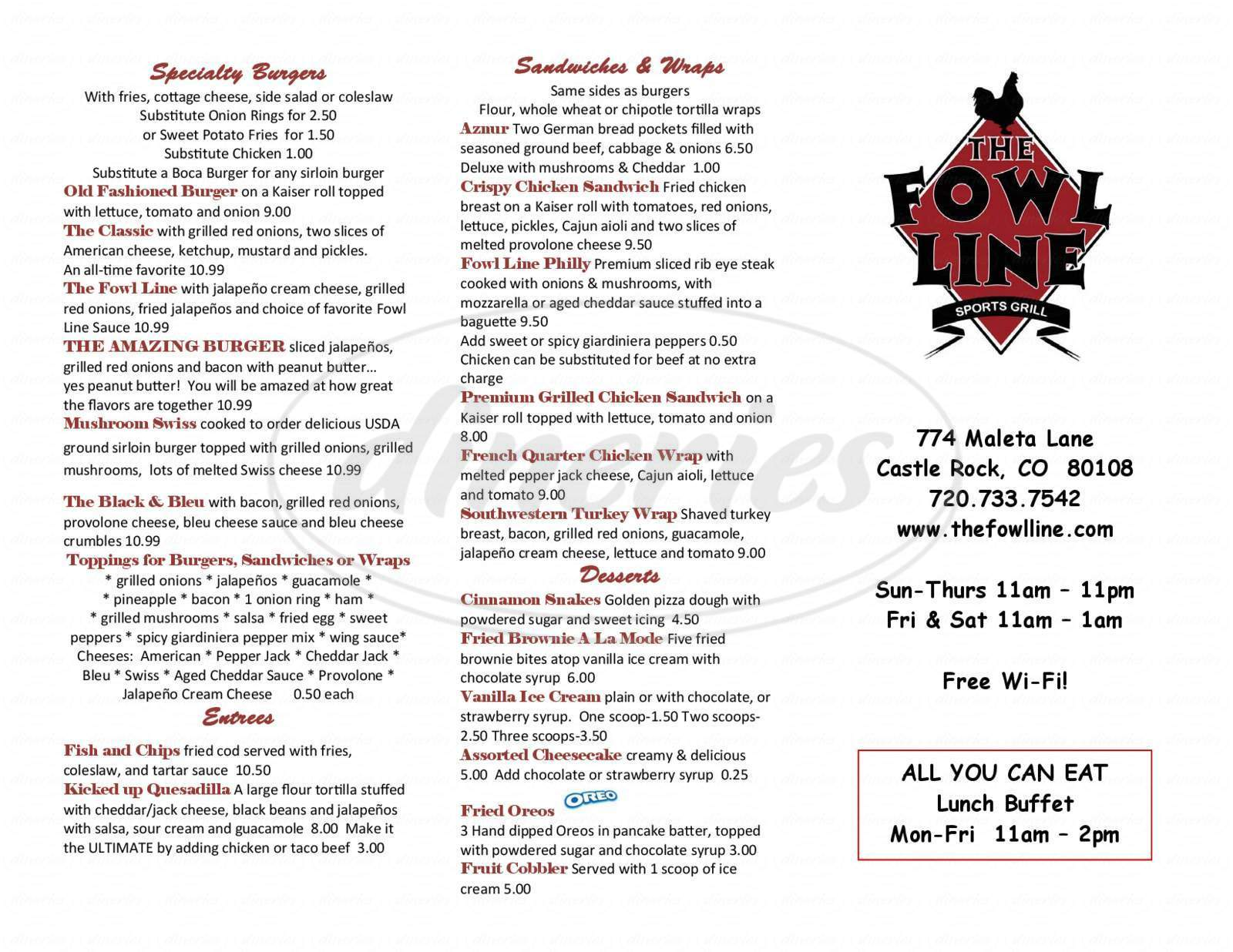 menu for The Fowl Line Sports Bar