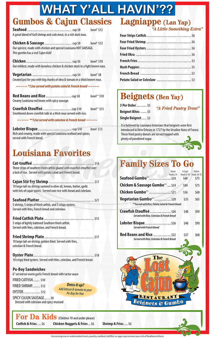 menu for The Lost Cajun
