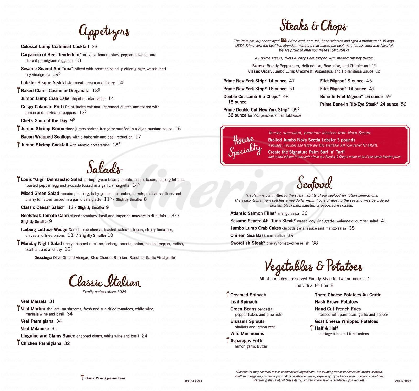menu for Palm Restaurant