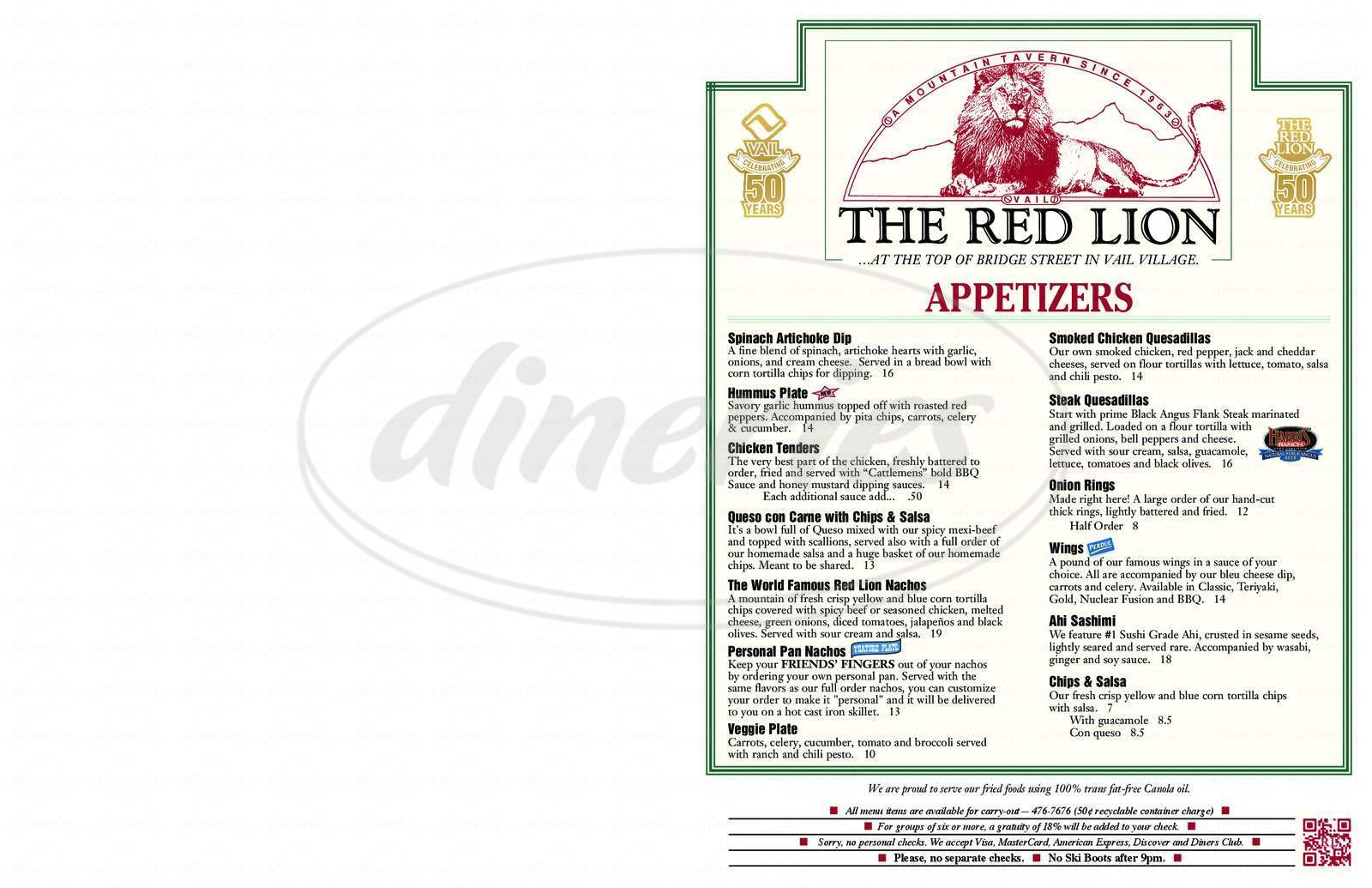 menu for Red Lion