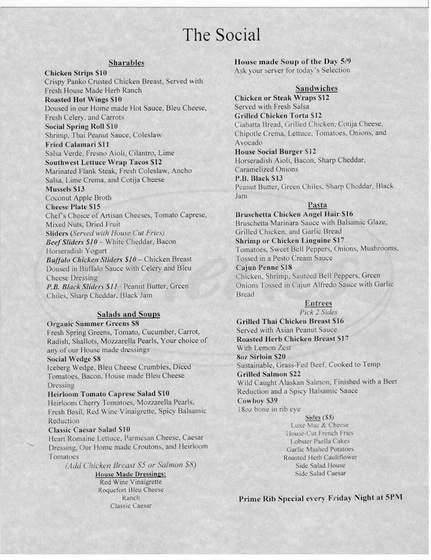 menu for The Social