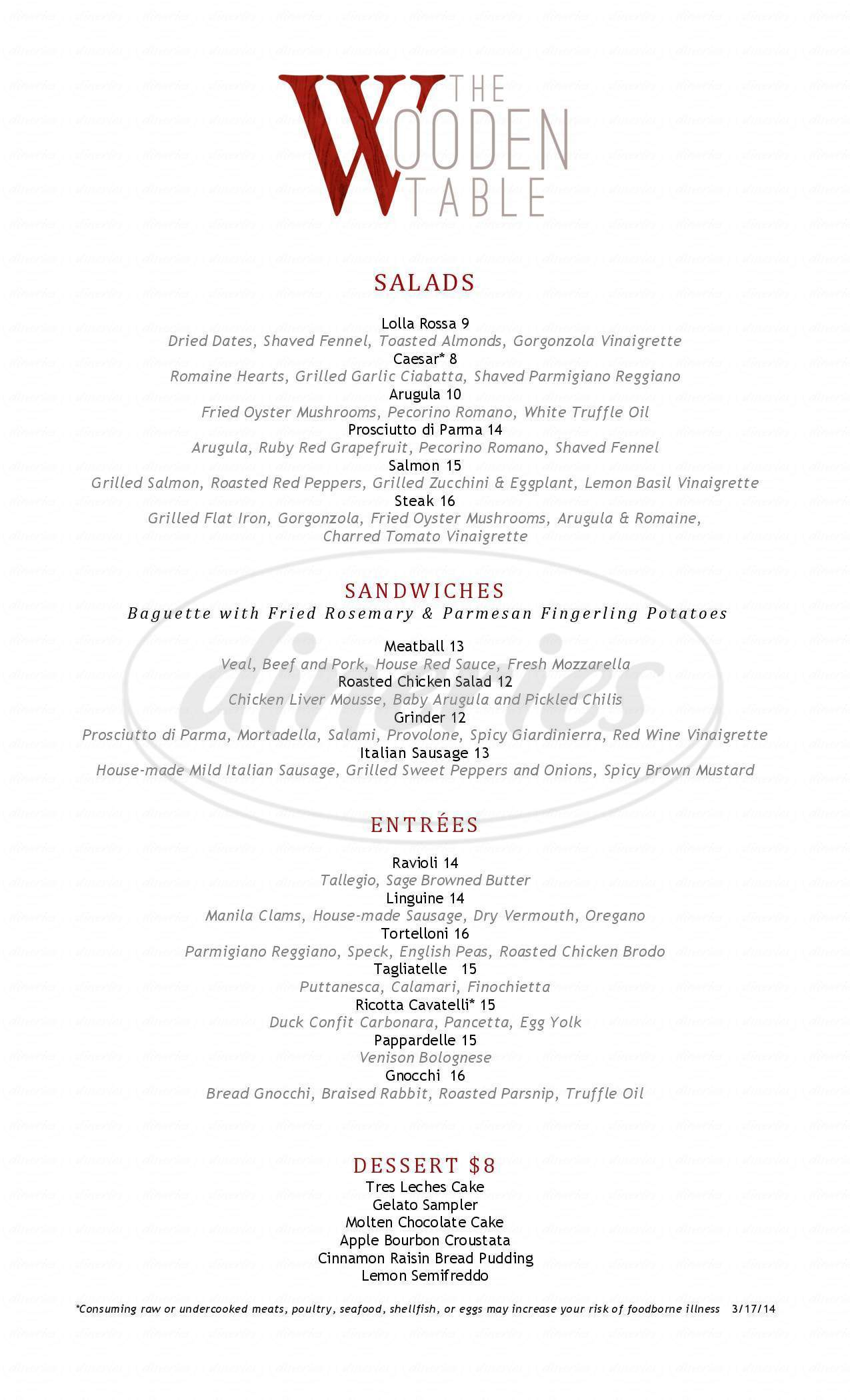 menu for The Wooden Table Restaurant