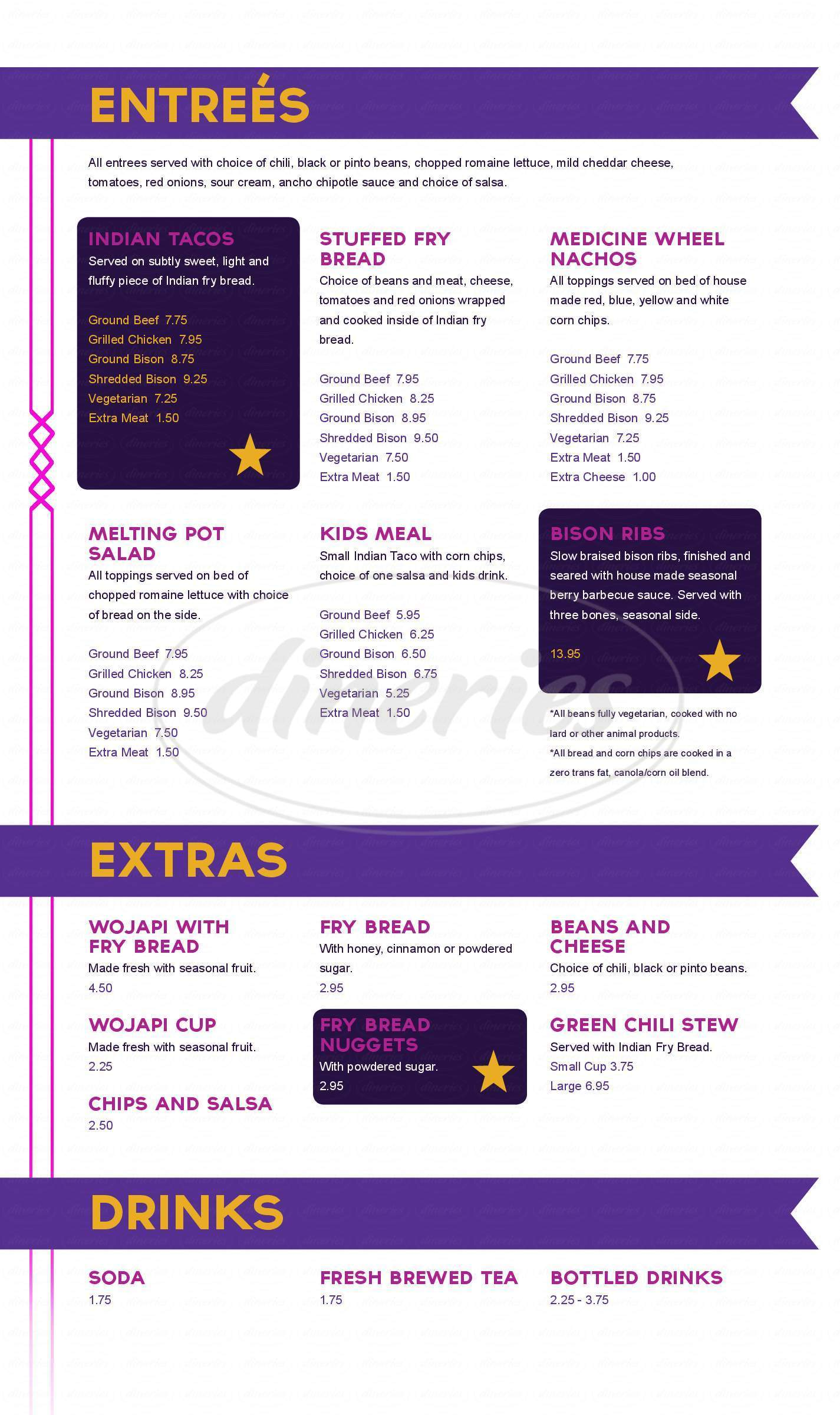 menu for Tocabe American Indian Eatery