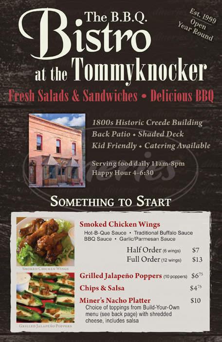 menu for Tommyknocker Tavern