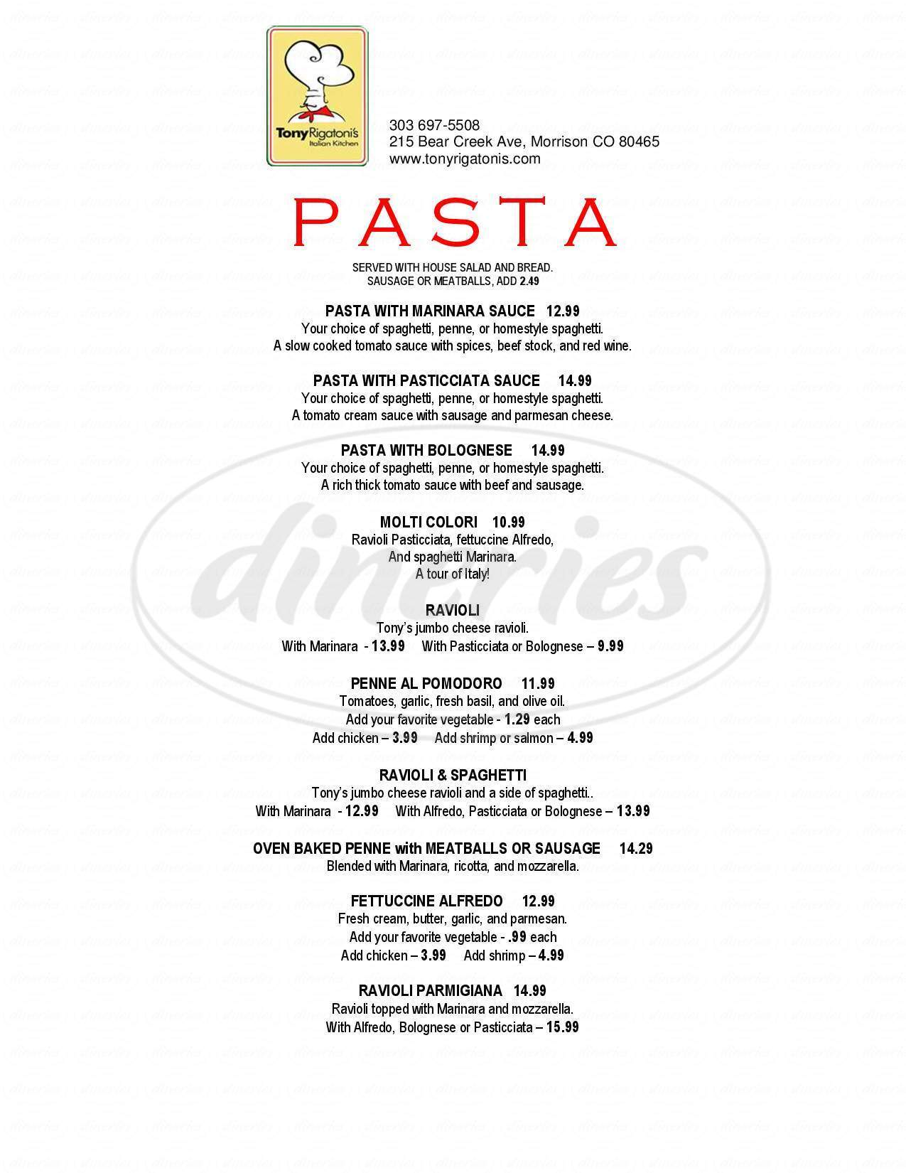 menu for Tony Rigatoni's Pizza & Pasta