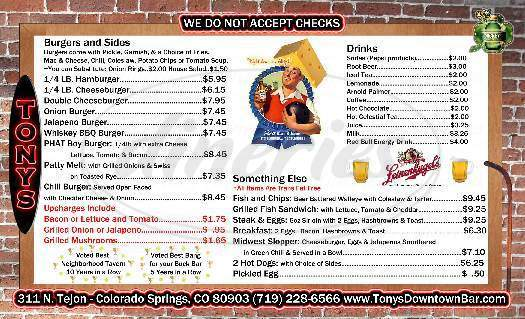 menu for Tony's Bar