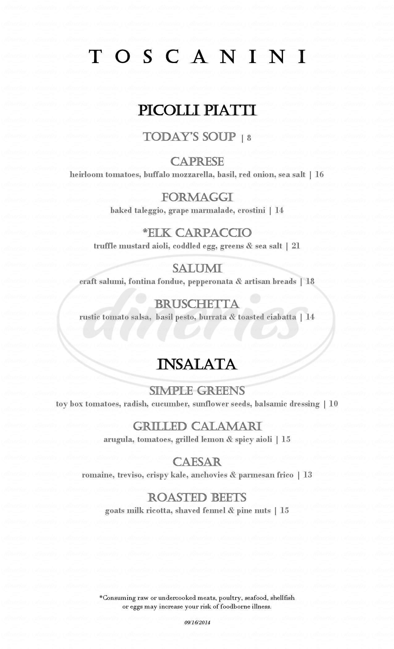 menu for Toscanini