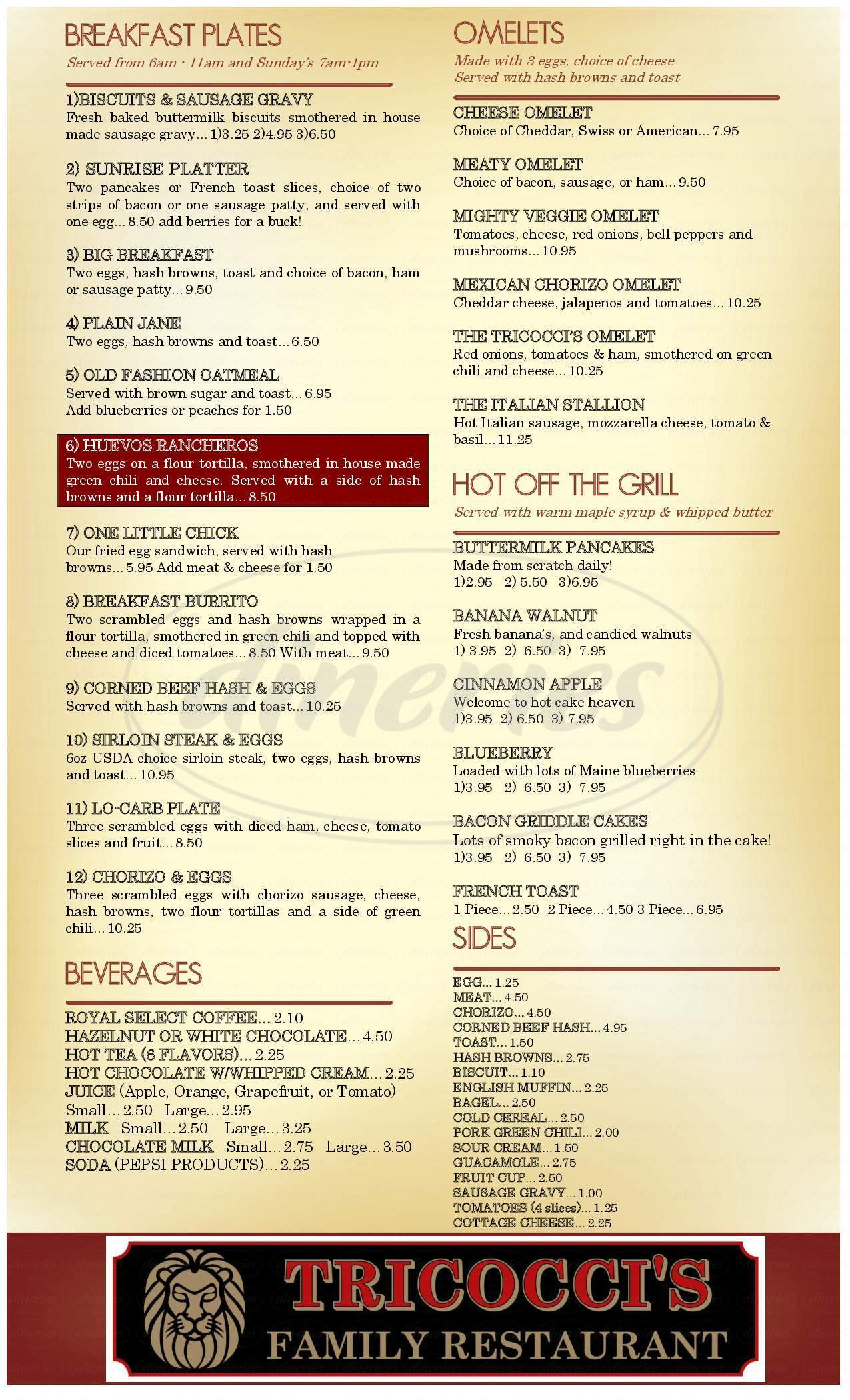 menu for Tricocci's Family Restaurant