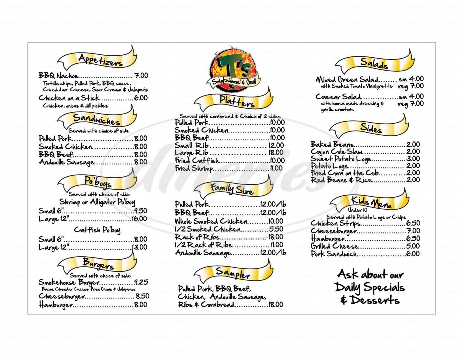 menu for T's Smokehouse & Grill