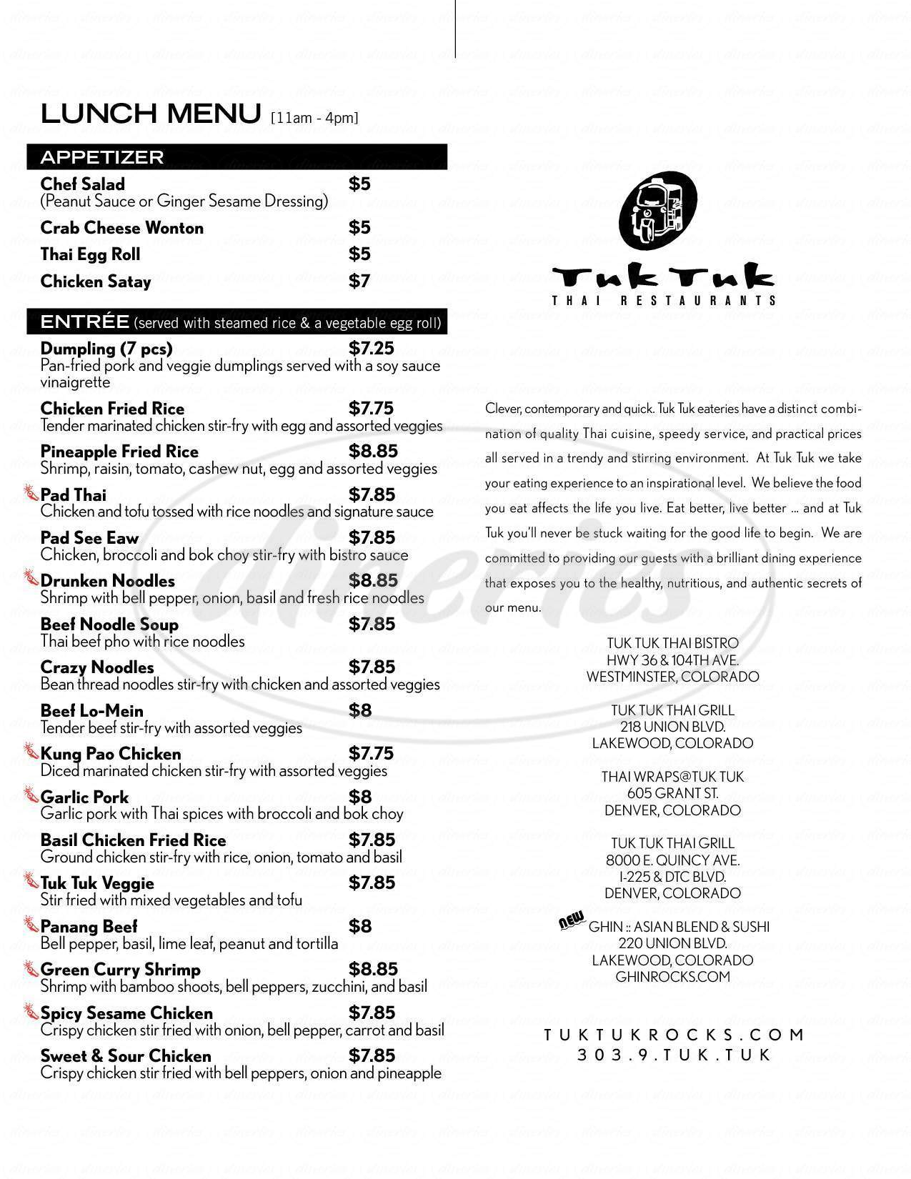 menu for Tuk Tuk Thai Bistro