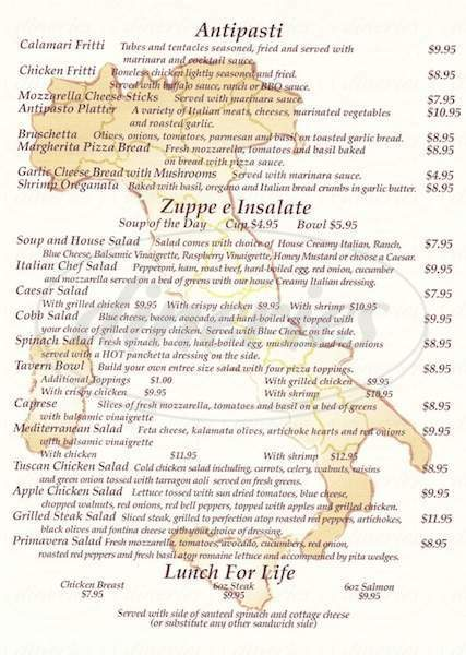 menu for Tuscany Tavern
