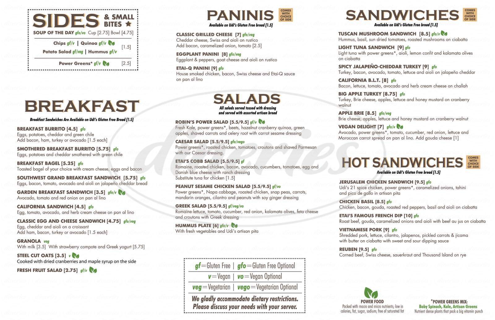 menu for Udi's Bread Café