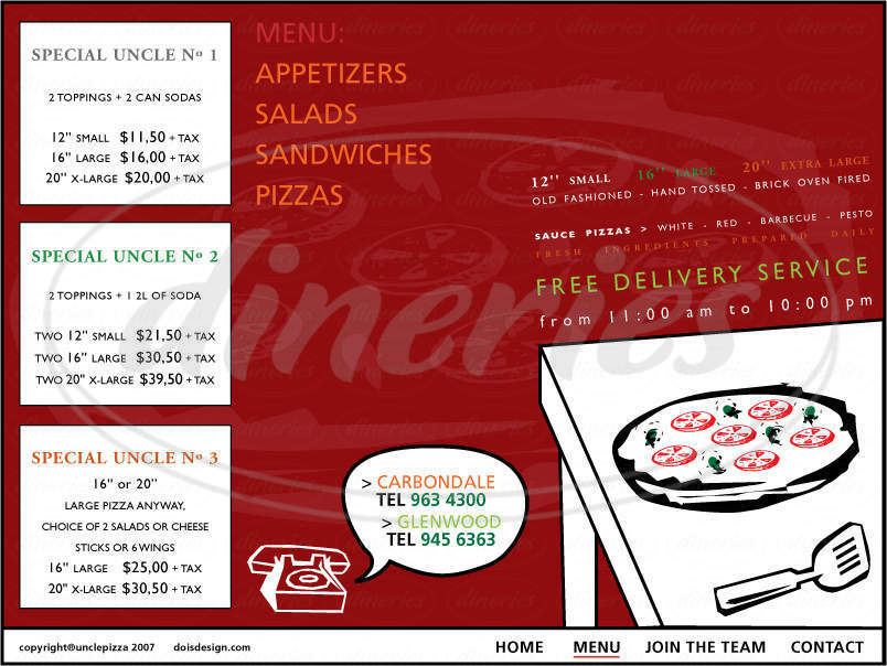 menu for Uncle Pizza