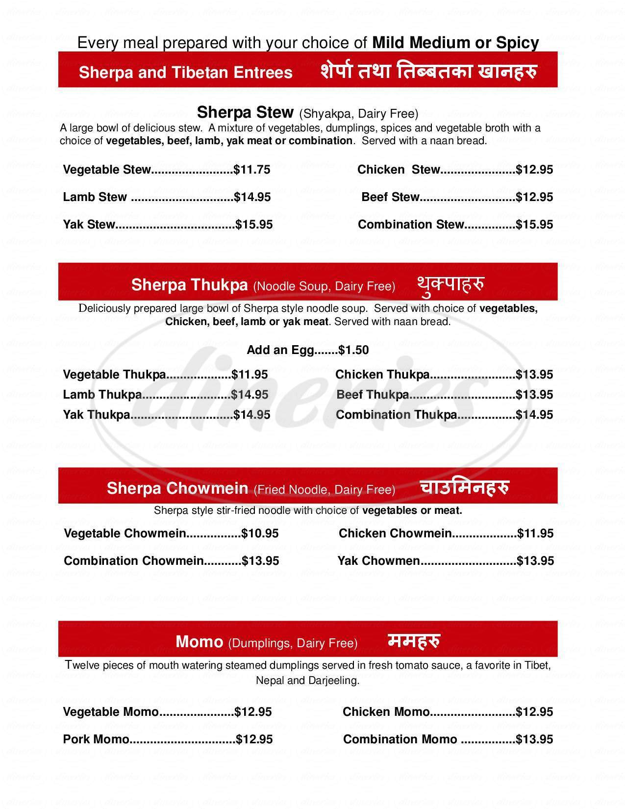 menu for Sherpa House