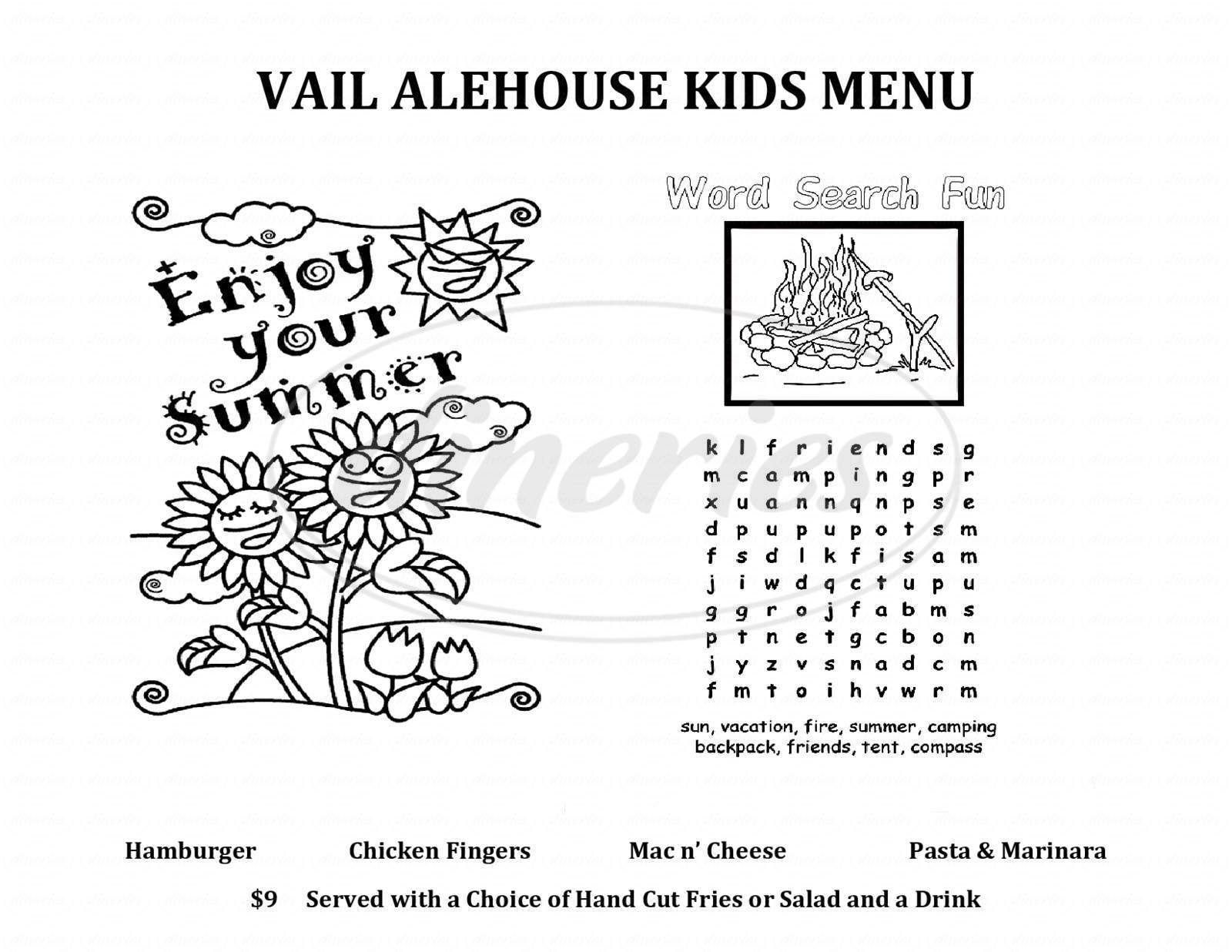 menu for Vail Ale House