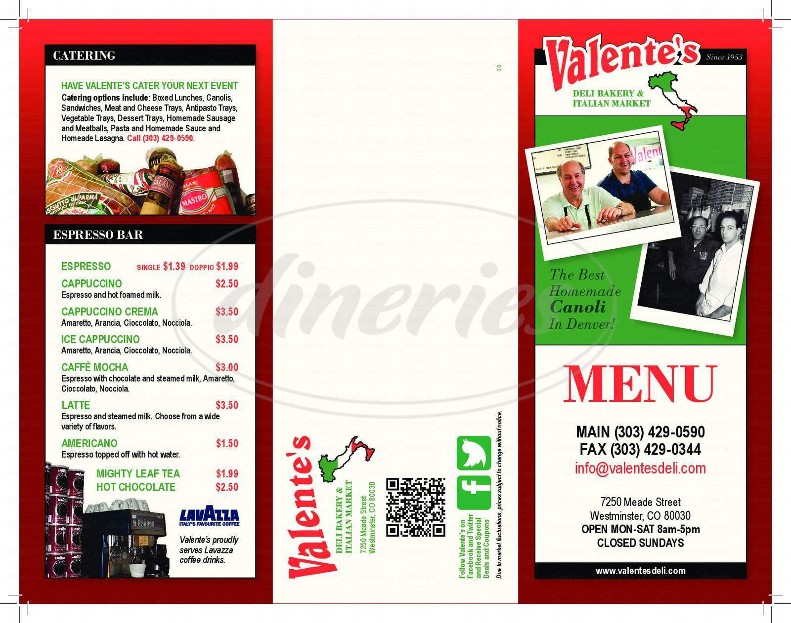 menu for Valentes Deli and Bakery