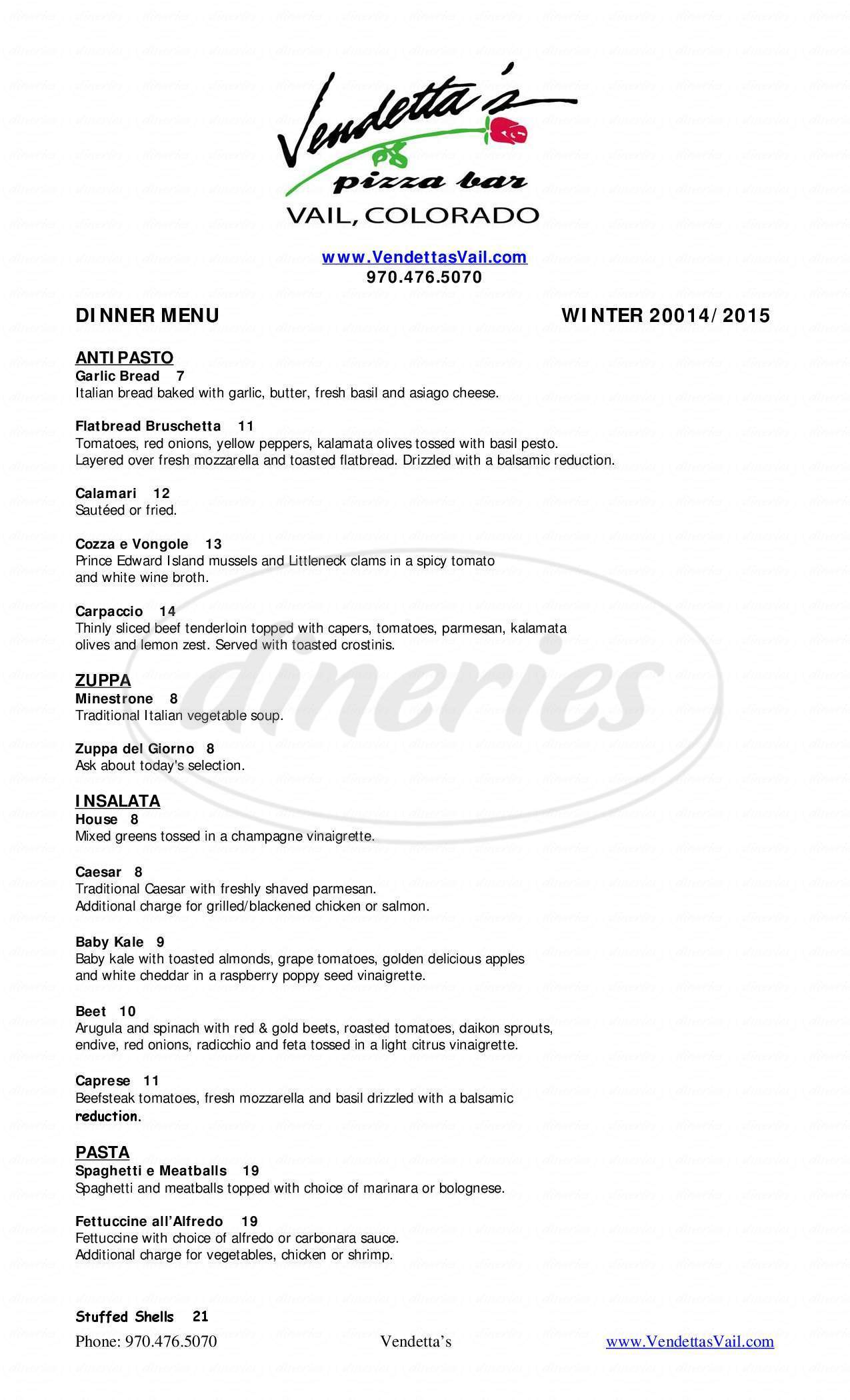 menu for Vendetta's Restaurant