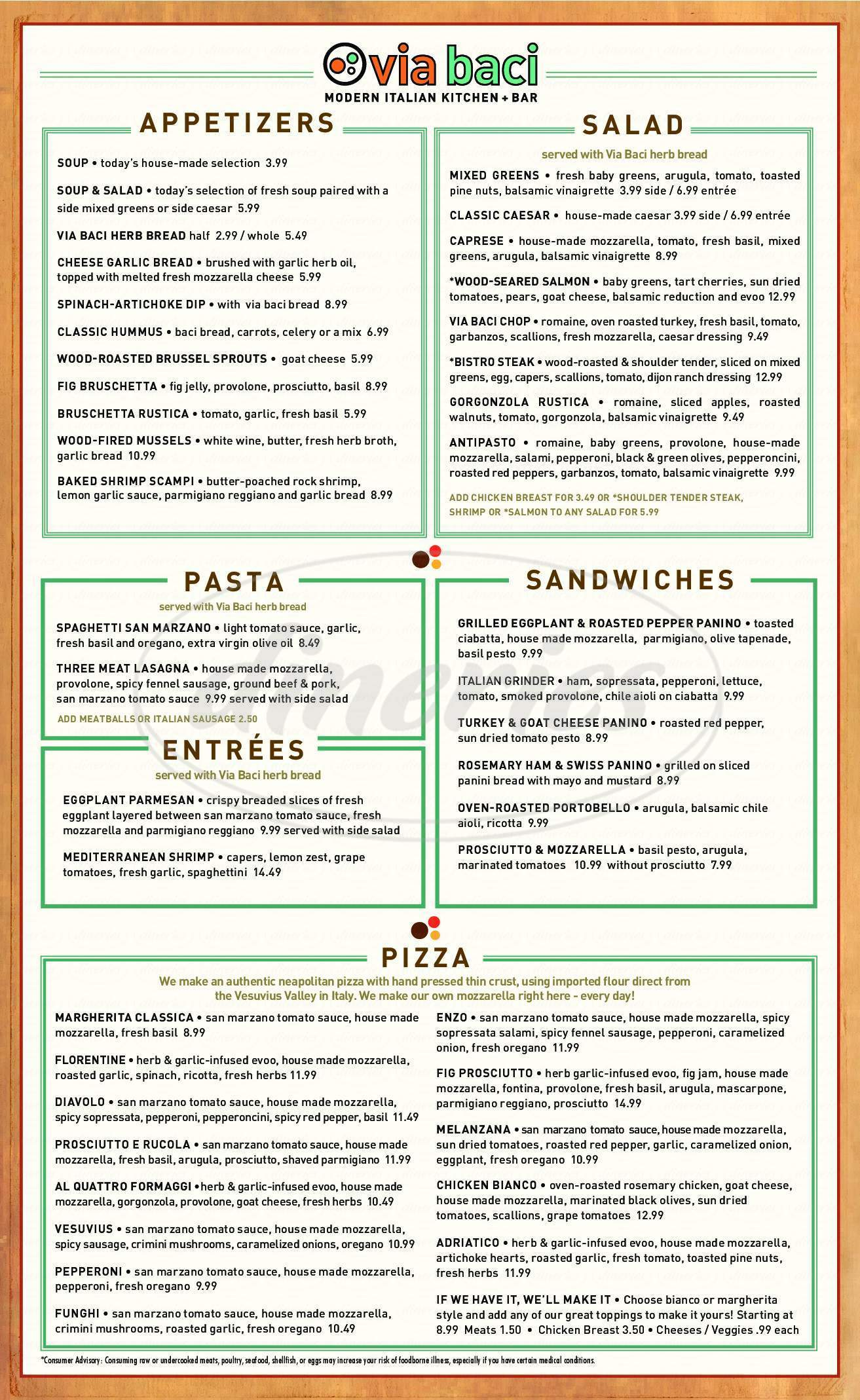 menu for Via Baci