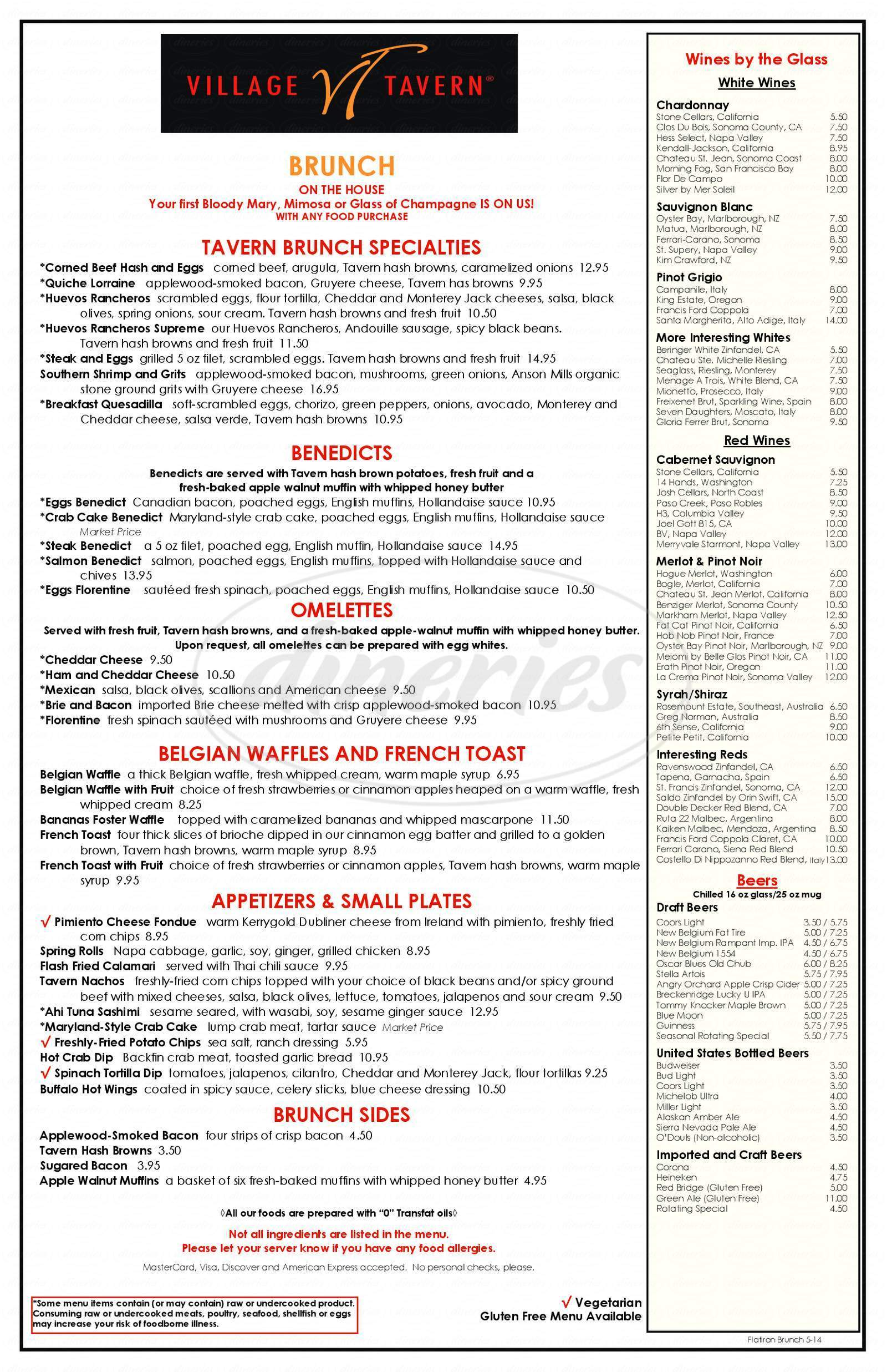 menu for Village Tavern
