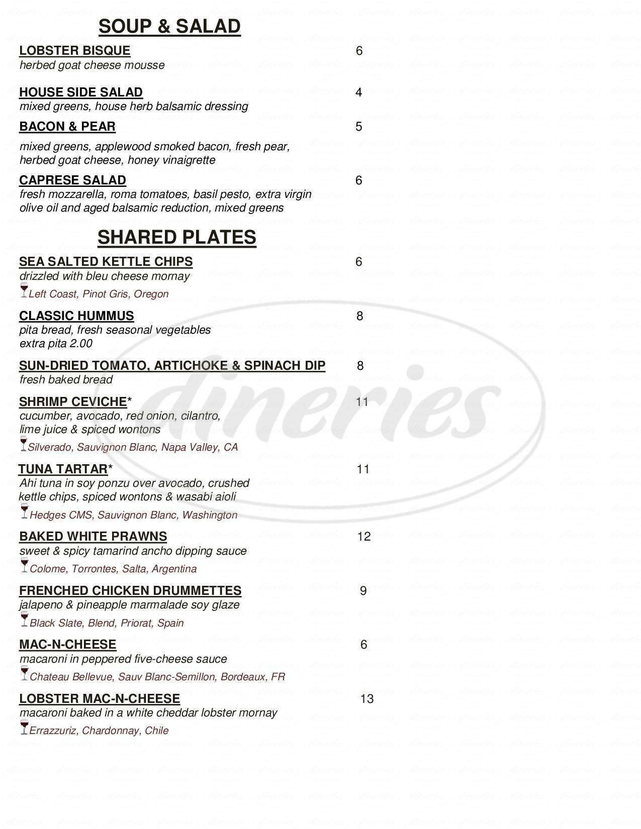 menu for Vinue Food and Wine Bar