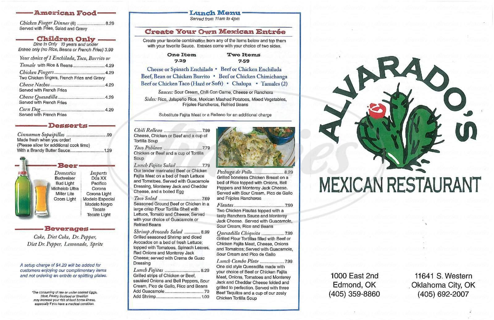 menu for Alvarado's Mexican Restaurant