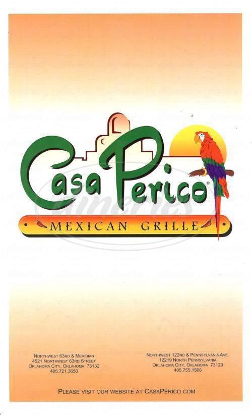 menu for Casa Perico