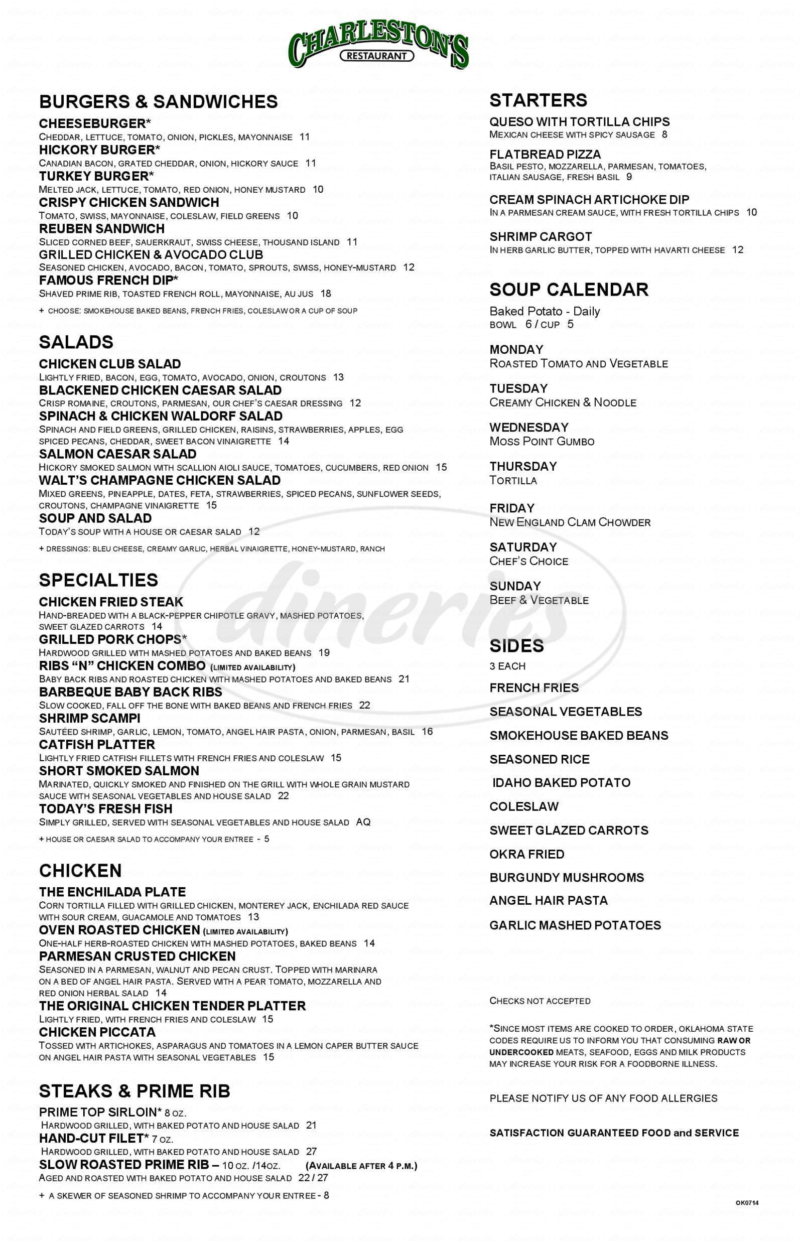 menu for Charleston's