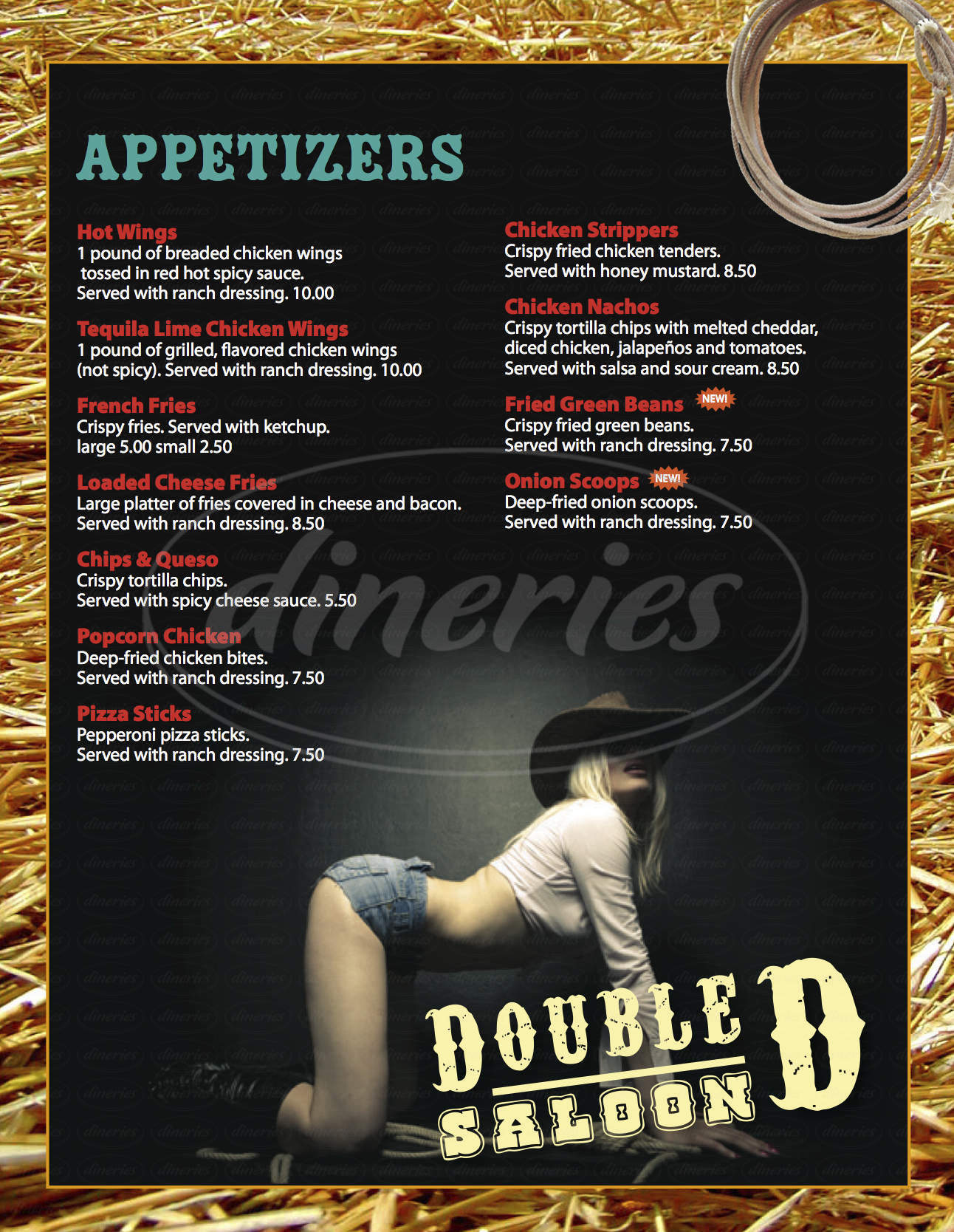 menu for Double D Saloon
