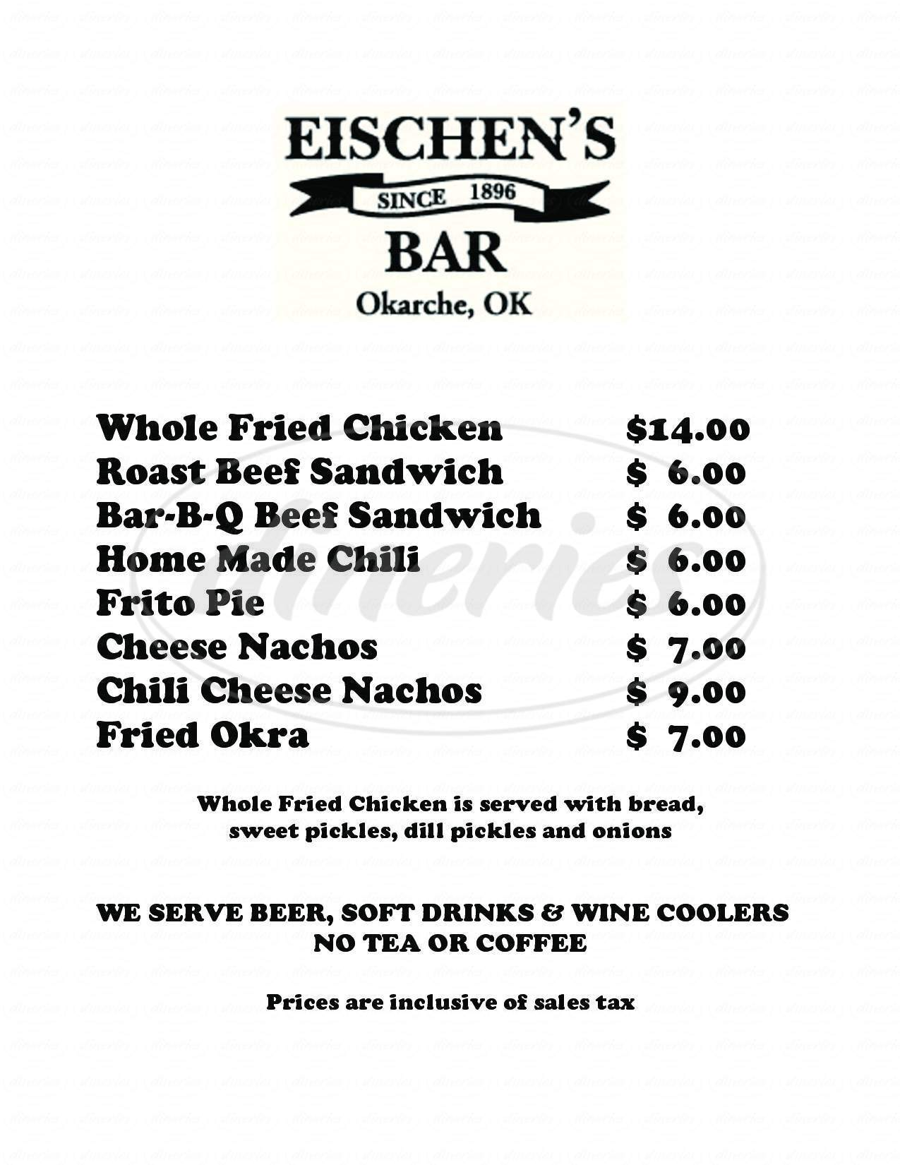 menu for Eischen's Bar