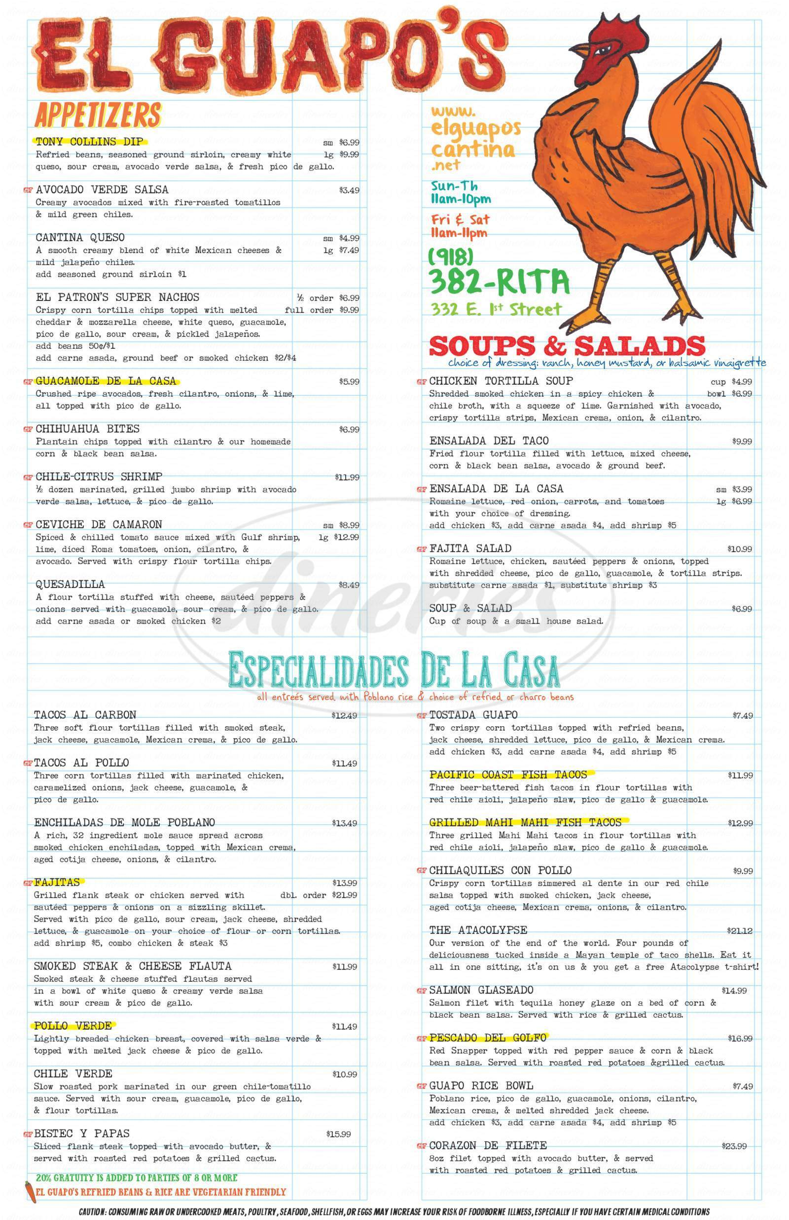 menu for El Guapo's Cantina
