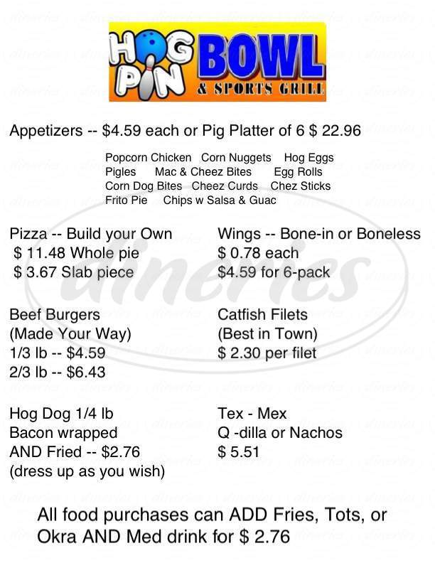 menu for Hog Pin Bowl & Sports Grill