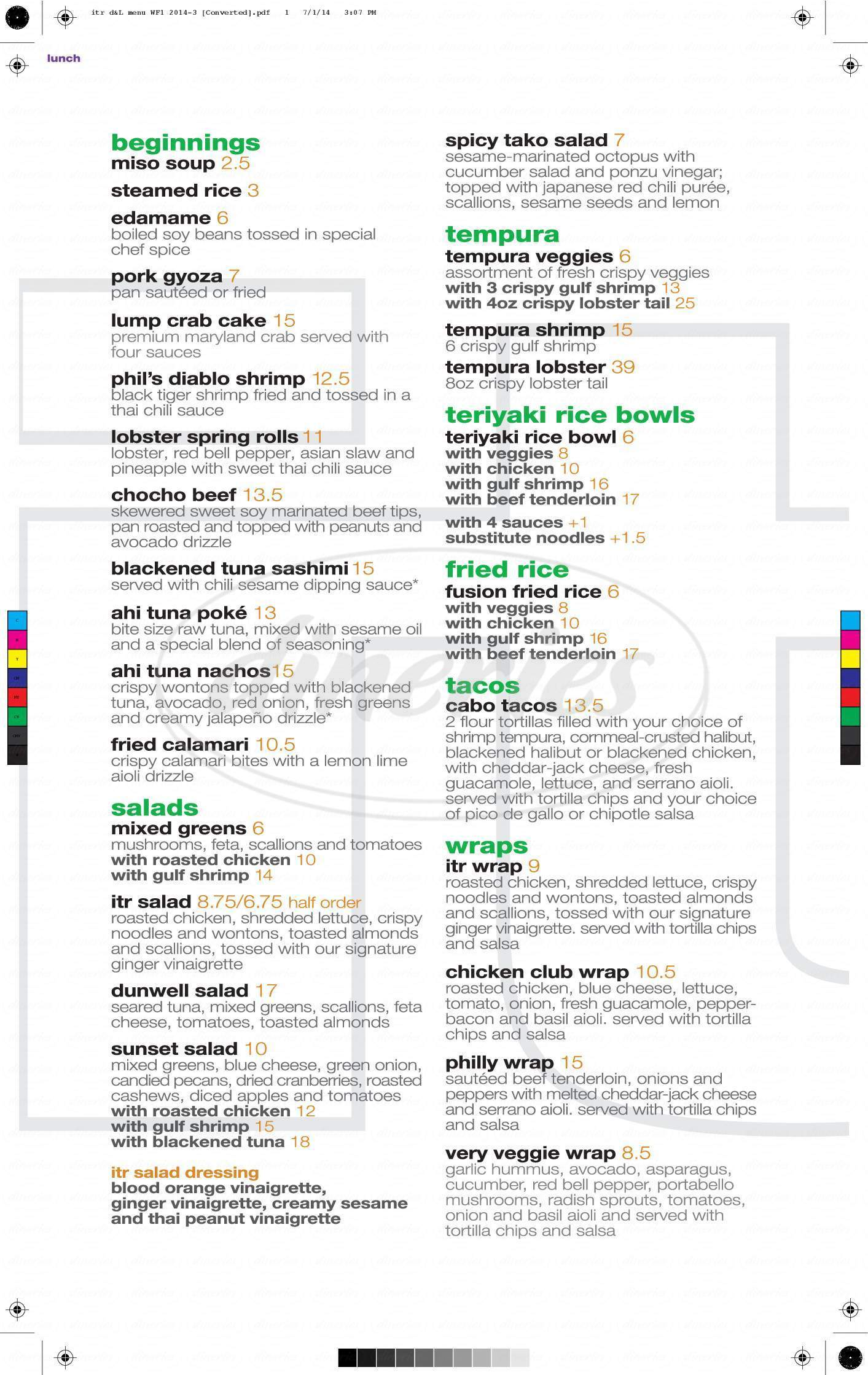 menu for In the Raw Sushi