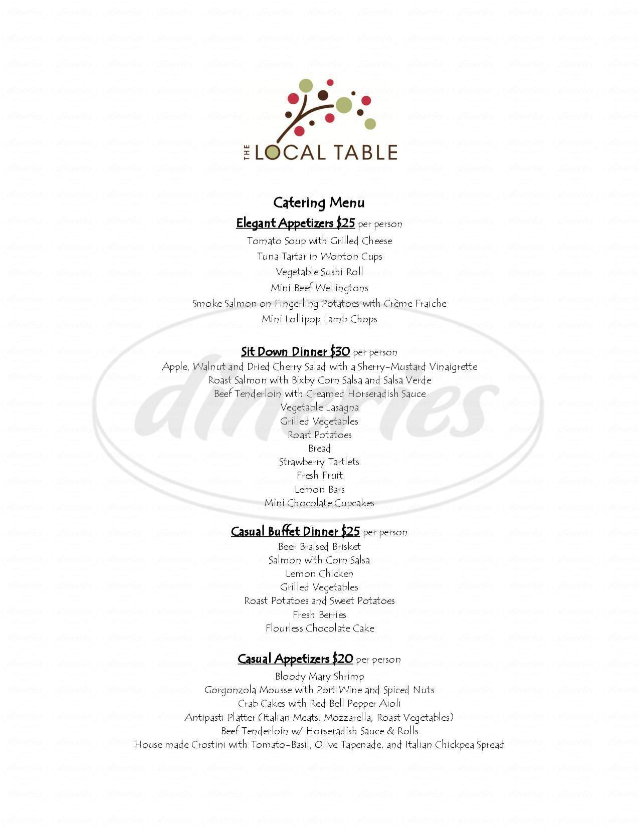 menu for The Local Table