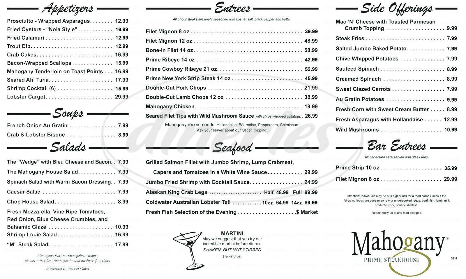 menu for Mahogany Prime Steakhouse