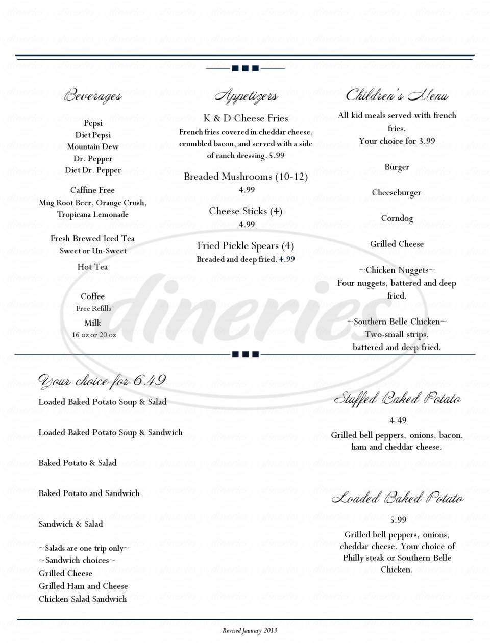 menu for Southern Belle Restaurant