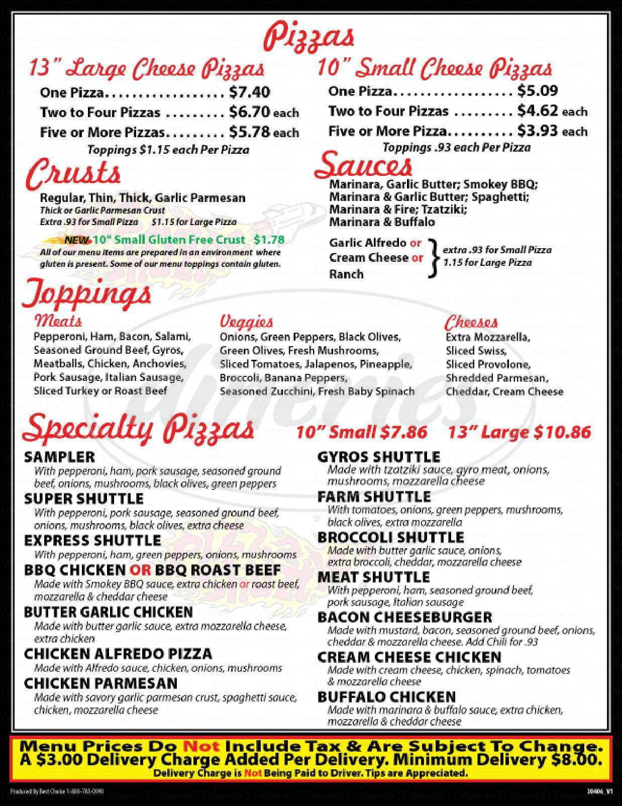 menu for Pizza Shuttle