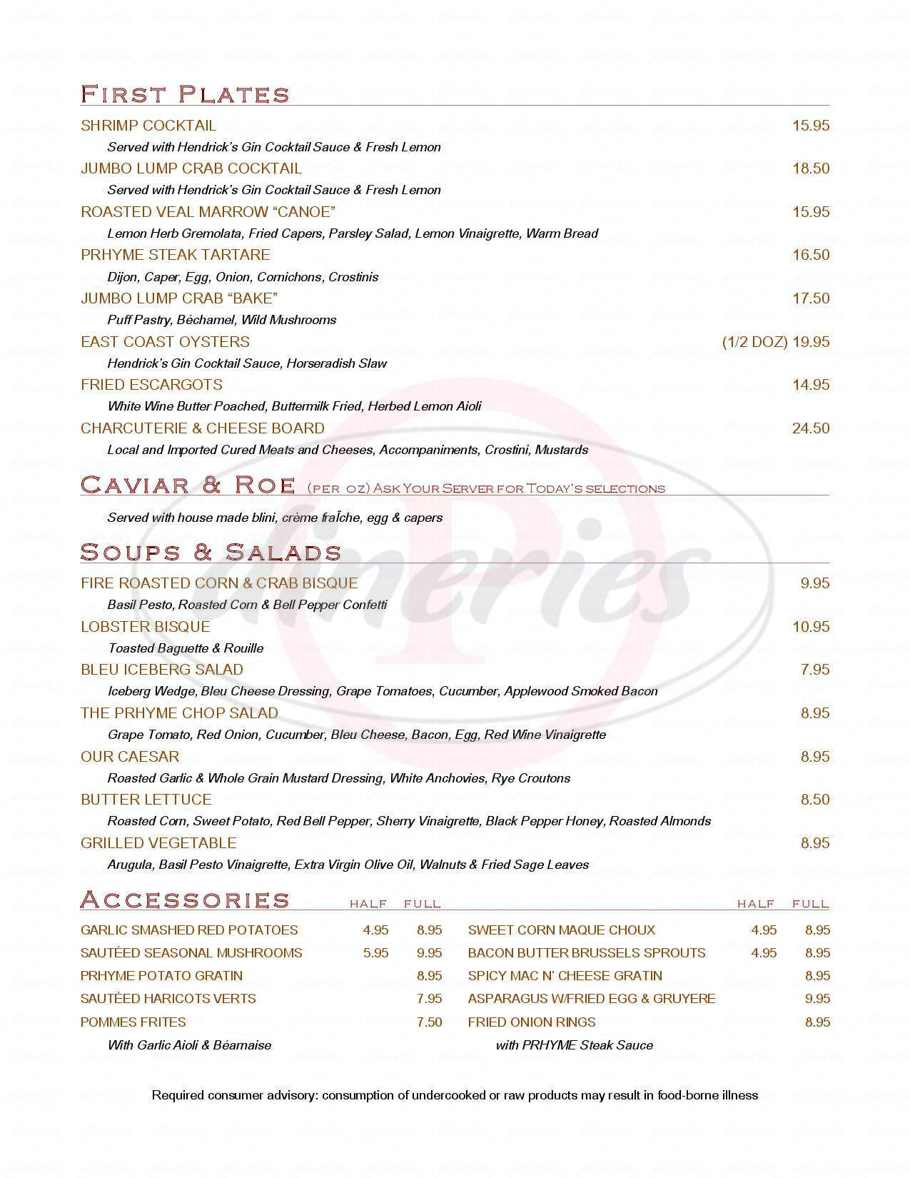 menu for Phryme Downtown Steakhouse