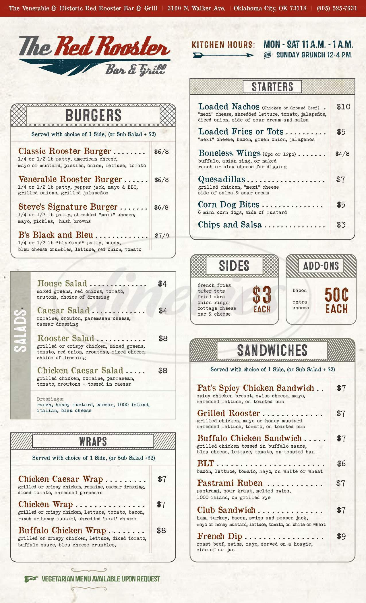 menu for Red Rooster Bar & Grill