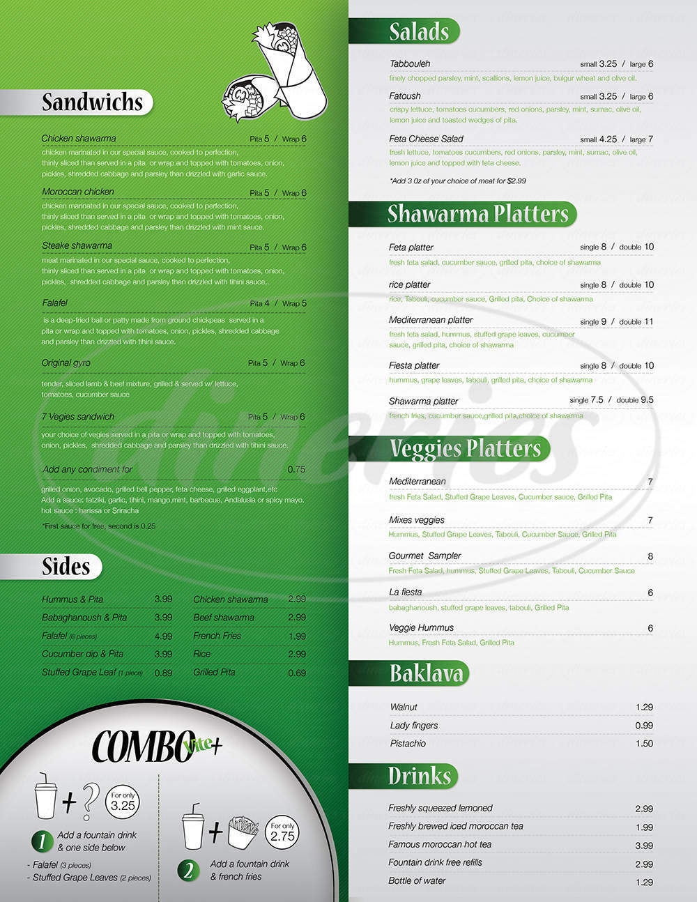 menu for Shawarma Vite