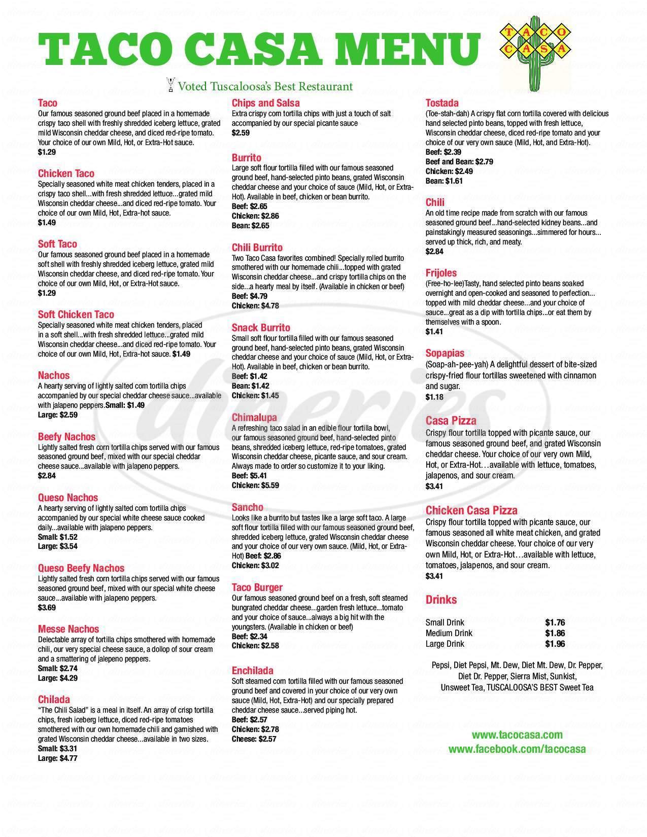 menu for Taco Casa