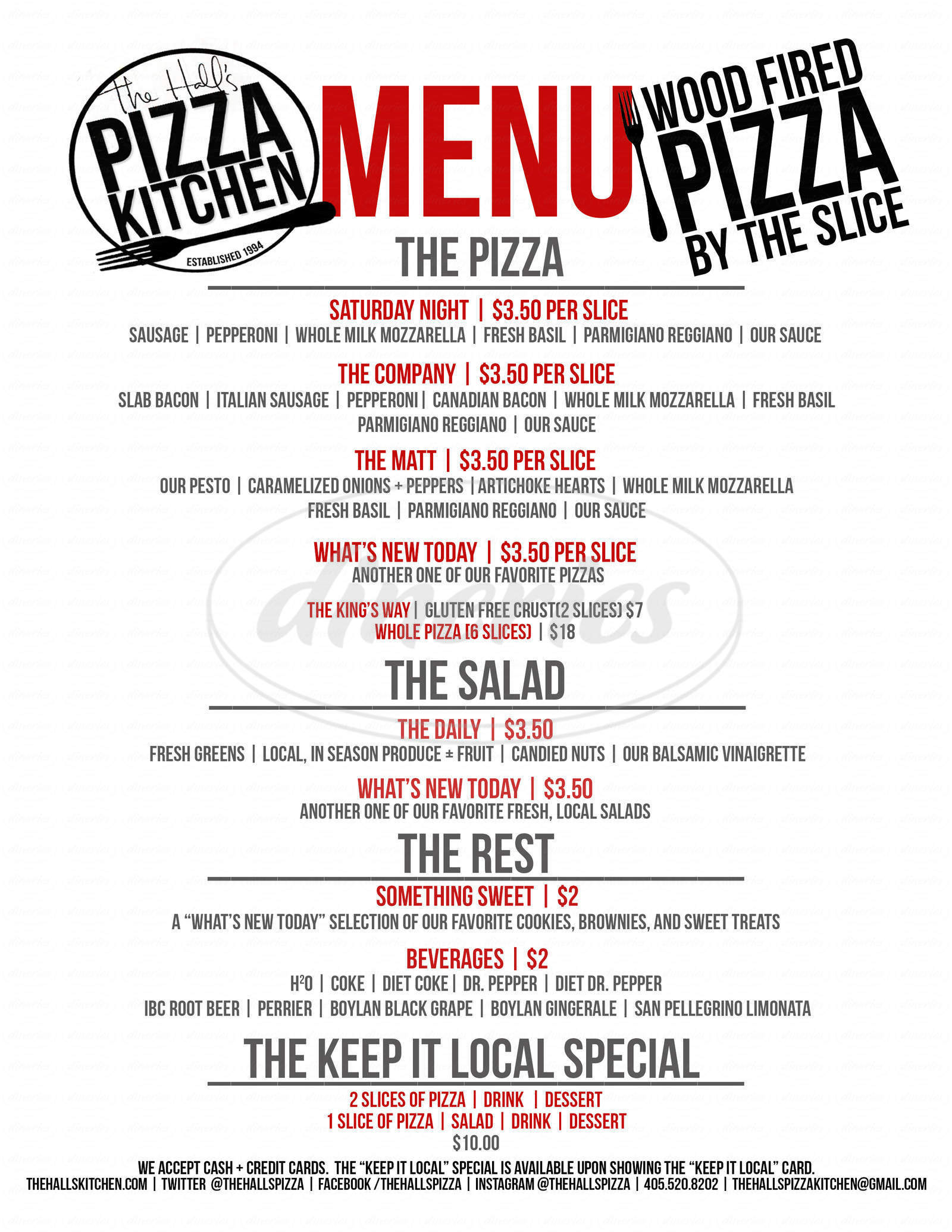 menu for The Hall's Pizza Kitchen
