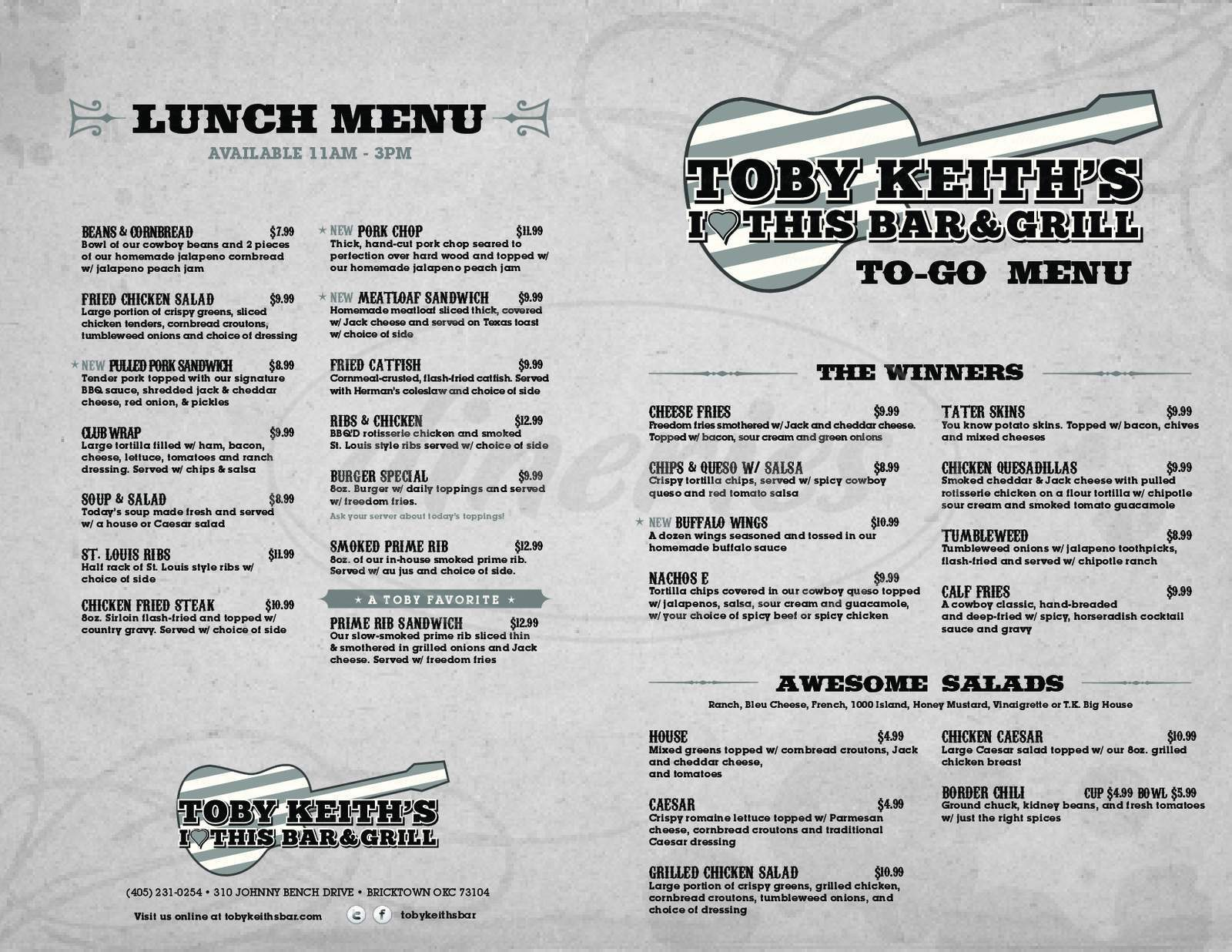 menu for Toby Keith's I Love This Bar & Grill