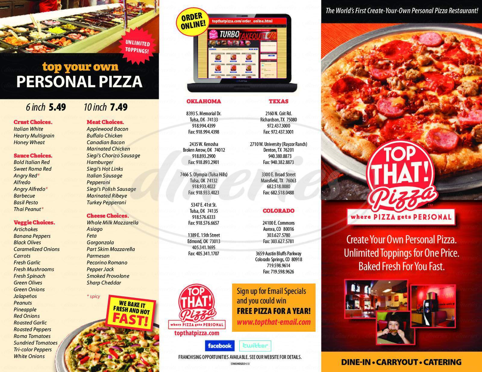 menu for Top That Pizza