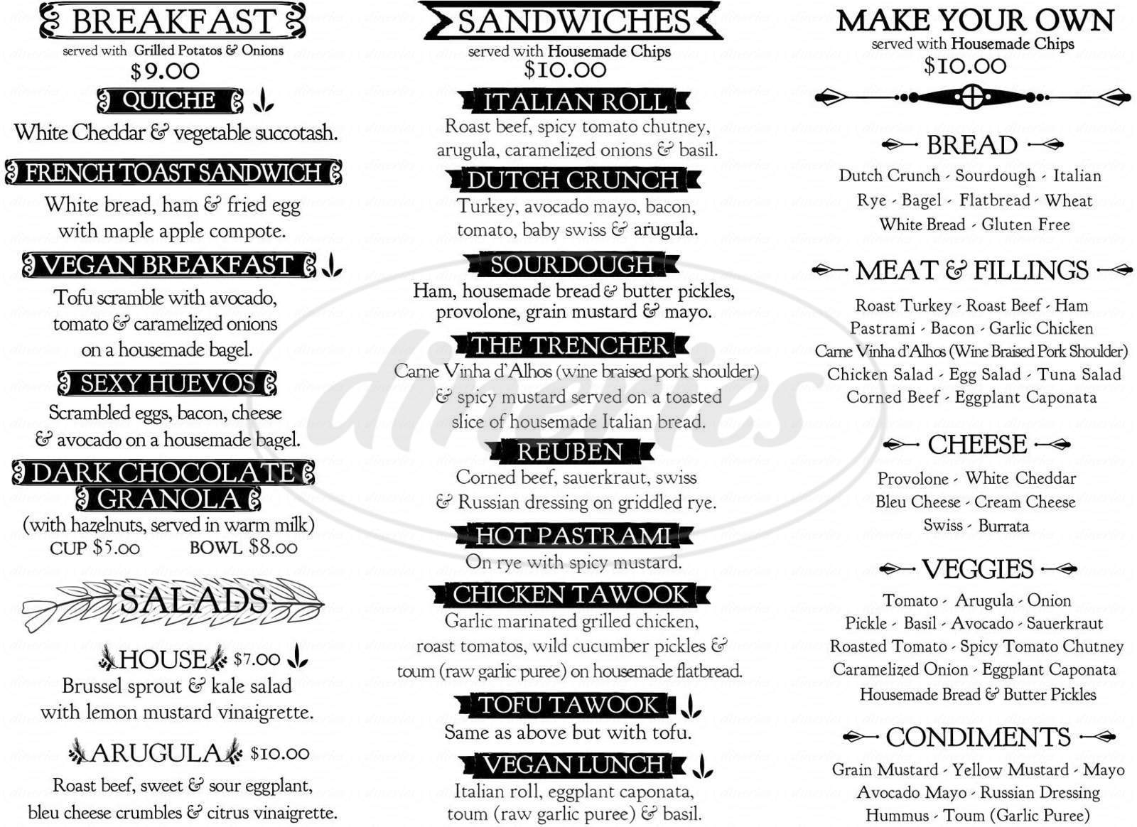 menu for Trenchers Delicatessen