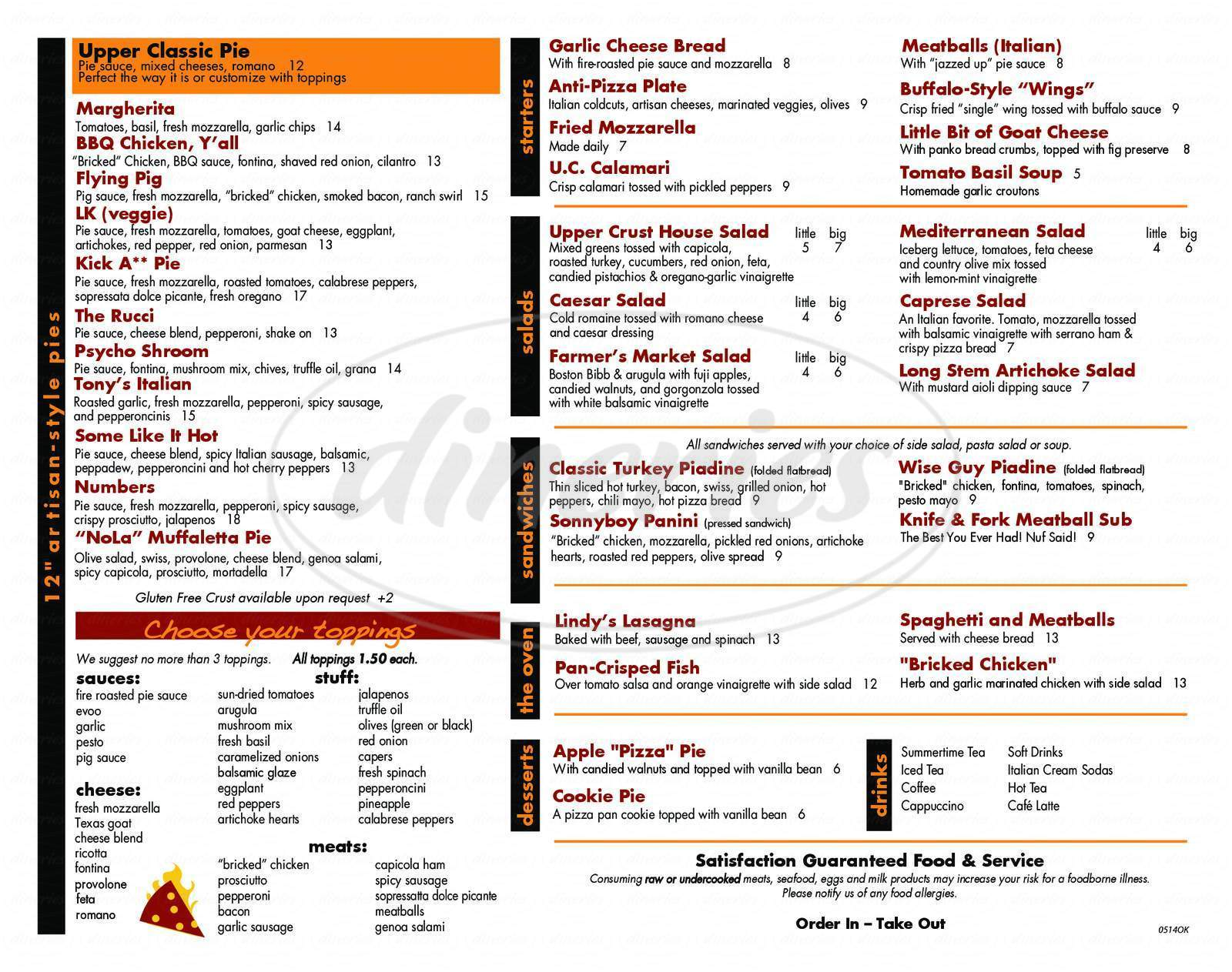 menu for Upper Crust Pizza