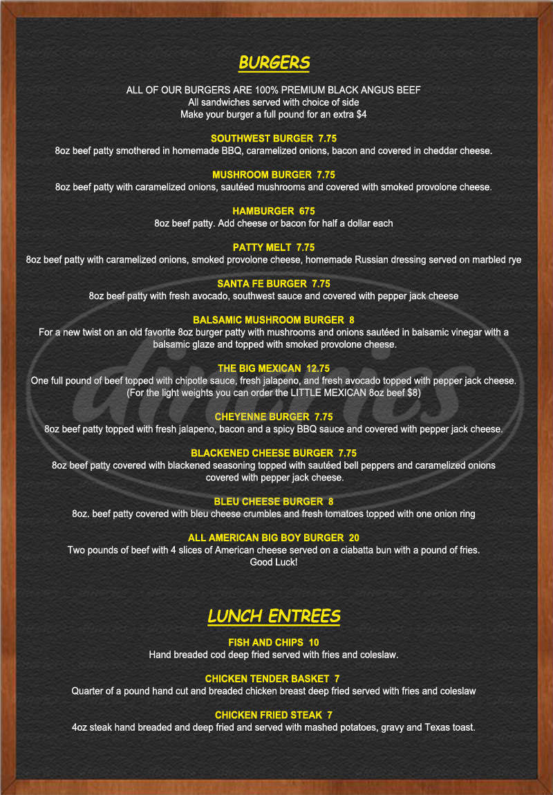menu for American Grill