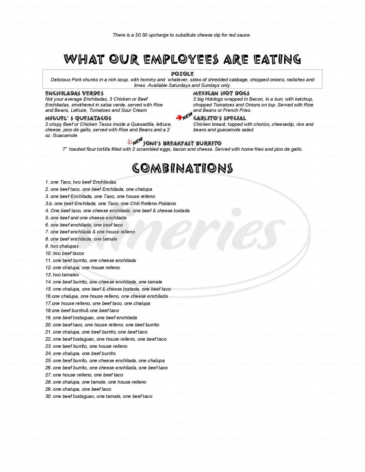 menu for Arizona's Mexican Restaurant